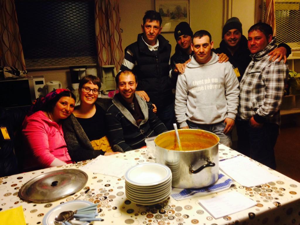 En del av köksgänget med initiativtagaren Andrea Arlid i mitten.